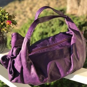 Royal Purple Extra Large Leather Hobo Bag
